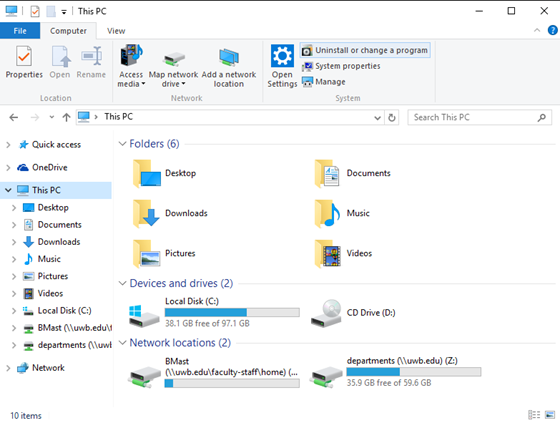 newly added network drive located under This PC in file explorer
