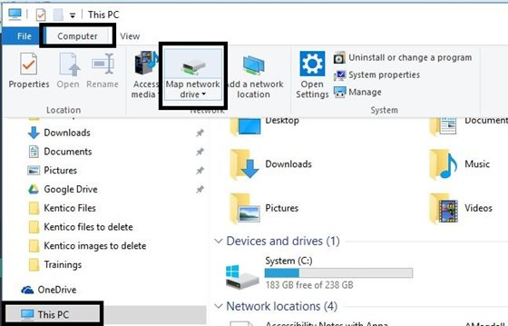 Map network drive location: this pc, computer tab, map network drive button