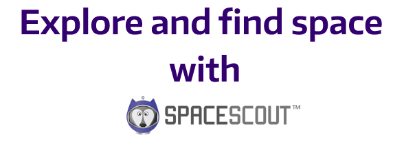 text says explore and find space with Space Scout