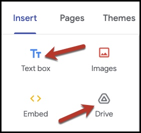 "New Google Sites Insert menu, highlighting the ""Text box"" and the ""From Drive"" options"