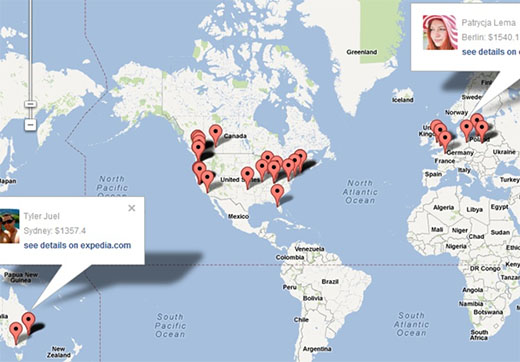 Facebook App with Expedia and Map APIs screenshot