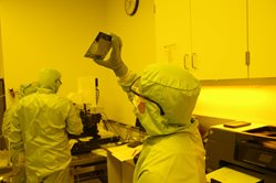 Scientists inside clean room