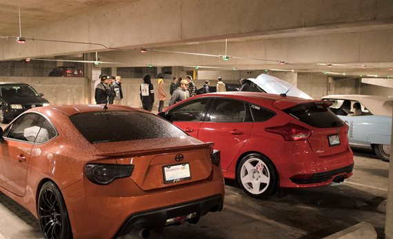 Car club meeting in south garage