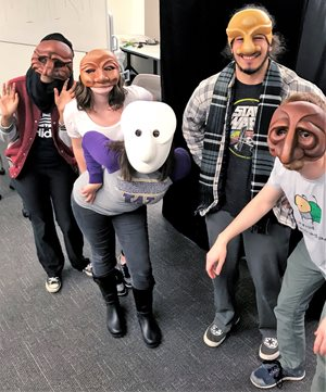 Five students in masks