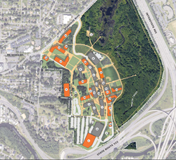 Planning map of possible long-term campus growth.