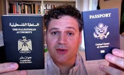 Karam Dana with his two passports for time capsule video.