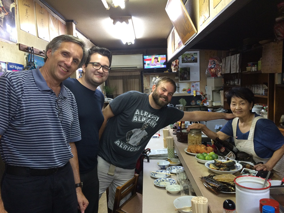 Steven Collins and two students visit Japanese pub