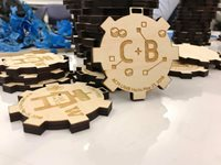 Gear-shapped hackathon souvenirs made in Makerspace