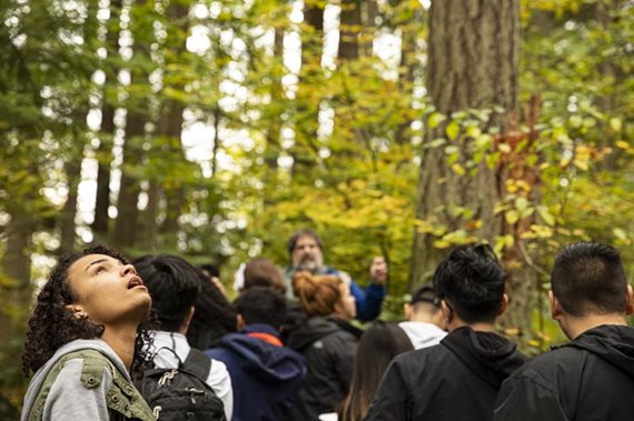 Students gathered in a forest.