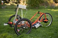 orange self-driving trike