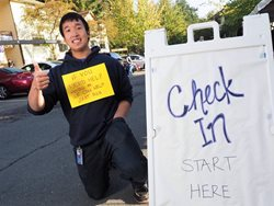 Jeffrey Leung offers to help residents moving in.