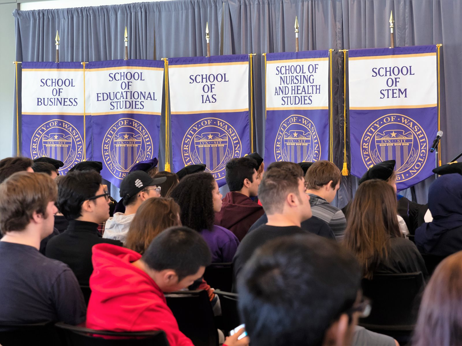 Banners for the five UW Bothell schools
