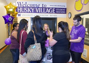 New students at Husky Village.