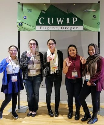 Students and assistant professor Joey Shapiro Key at CUWiP 2018