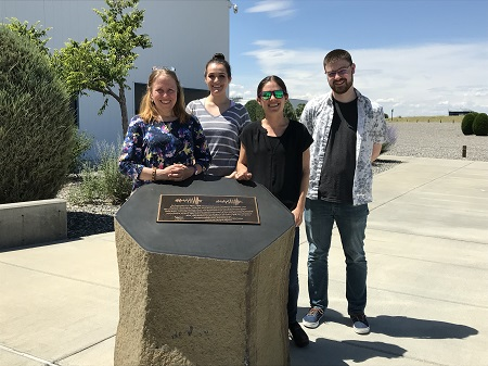 Luisa-Buchman-LIGO-site-hanford-plaque-commemorating-first-gravitational-wave-detection-in-2015
