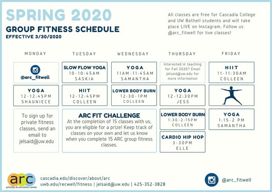 Spring 2020 Group Fitness Schedule, effective March 30, 2020. All Group Fitness classes are free for Cascadia College and University of Washington Bothell students and take place LIVE on instagram. Follow us @arc_fitwell for live classes. Yoga classes are on Monday from 12 to 12:45pm, Wednesday, from 11 to 11:45am, Thursday from 12 to 12:30pm, and Friday, 1:15 to 2pm. Slow Flow Yoga is offered on Tuesday from 10 to 10:45am. High Intensity Interval Training is on Tuewsdays from 12 to 12:45pm and Fridays from 11 to 11:30am. Lower Body Burn is offered on Wednesday from 12:30 to 1pm and Thursday from 1:30 to 2:15pm. Cardio Hip Hop is every Wednesday from 3 to 3:30pm