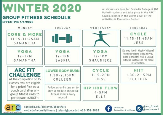 Group Fitness classes start on January 6th, 2020 for the Winter 2020 Schedule. Core & More is offered every Monday from 11:15 am to 11:45 am. Yoga classes are offered every Monday, Tuesday, and Wednesday from 12 to 1 pm. Lower Body Burn is offered every Tuesday from 1:30 to 2:15pm. Cycle is offered every Wednesday from 1:15 pm to 2 pm and Thursday from 11:15 am to 11:45 am. High Intensity Interval Training is offered every Thursday from 1:30 to 2:15pm.