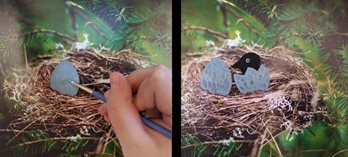 chick in nest bird painting