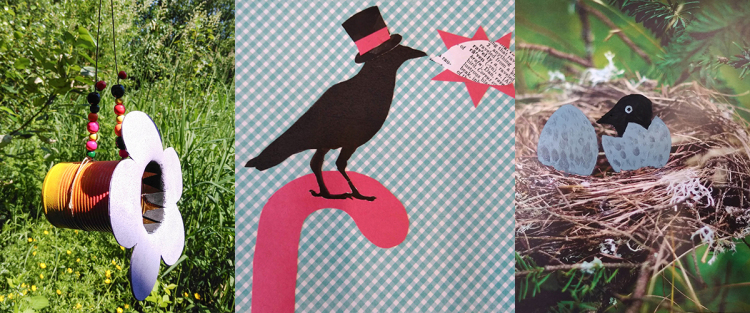 crow-camp-art projects- bird feeder, collage, and painting