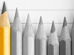 pencils in black and white with one yellow.JPG