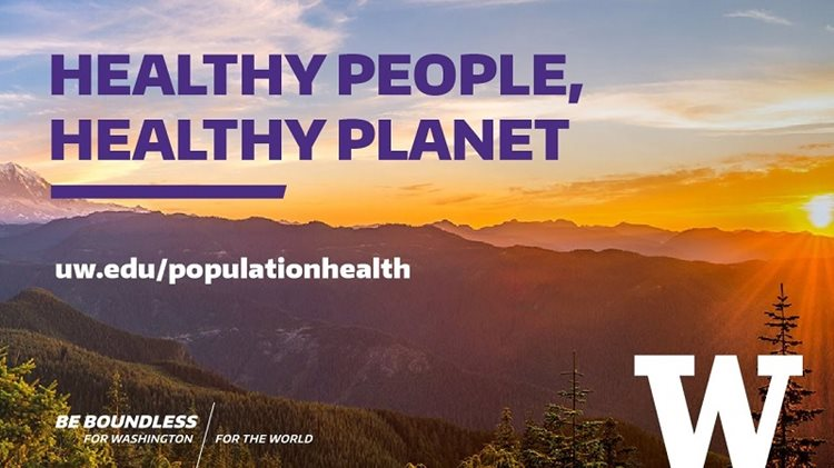 """healthy people, healthy planet"" sunset banner"
