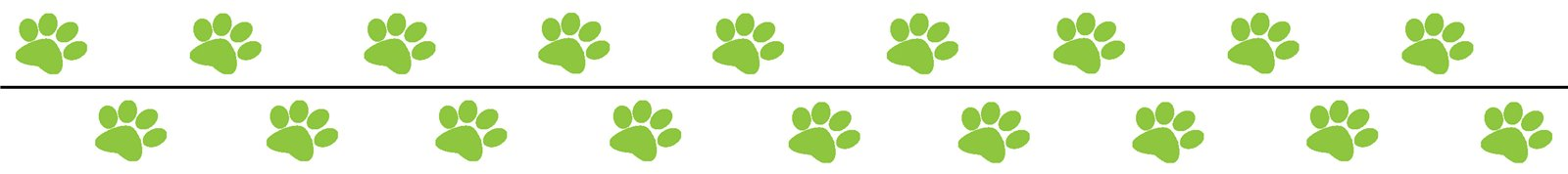 Green Paw Prints Border