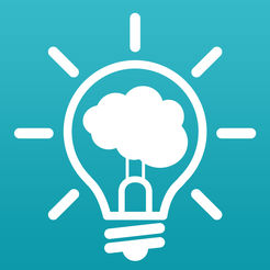 app icon of a light bulbe, on, with a brain in it