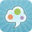 app icon of a thought bubble with colorful circles inside of it