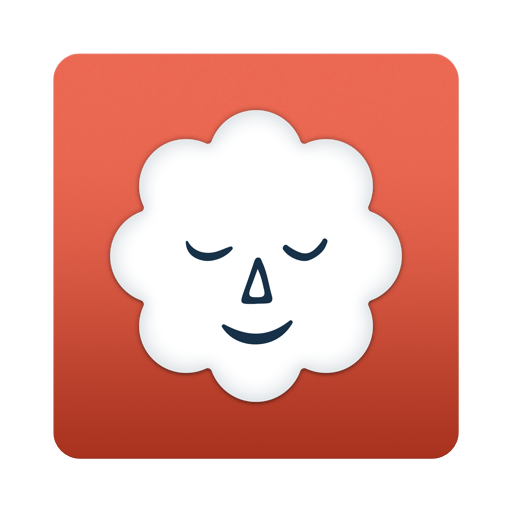 icon of a cloud with a face who's eyes are closed and content