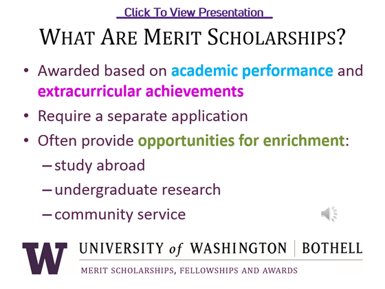 Preview of Merit Scholarships Presentation
