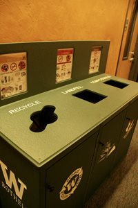 waste bin with recycling, trash, and compost receptacles
