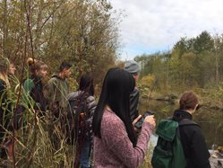 UW Bothell Sustainability Club taking a tour of the wetlands.jpg