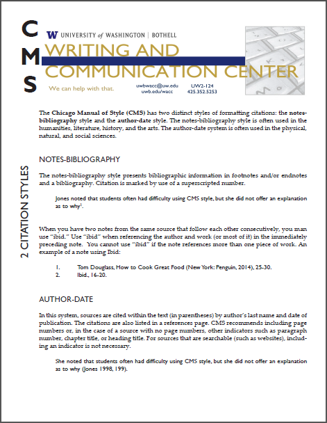 Chicago Style Formatting - Writing & Communication Center - UW Bothell