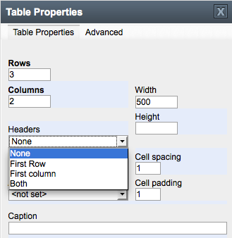 The table properties dialog box with the Headers drop down