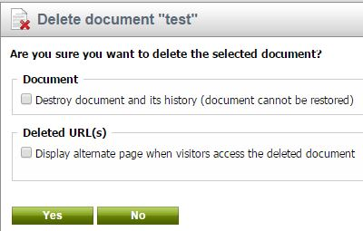 Deleting documents options