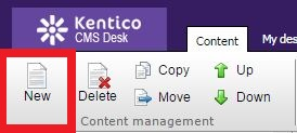 content management highlighting the New button