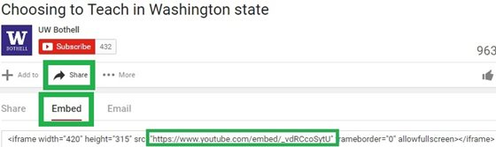 the location of the Embed URL in YouTube