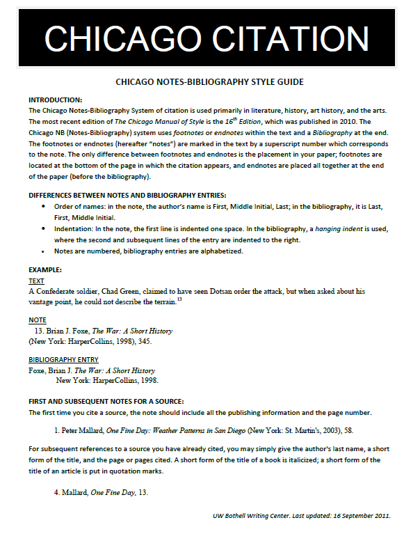 chicago style paper citation Doe 1 the chicago style of writing is used for academic writing in the field of humanities, especially history specific guidelines for formatting a paper in chicago style are outlined in.