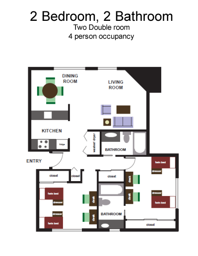 2 Bedroom, 2 Bath floorplan - 937 sq. feet