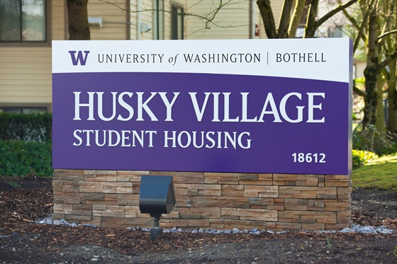 Husky Village Student Housing sign