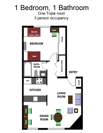 Triple - 1 Bedroom, 1 Bath floor plan